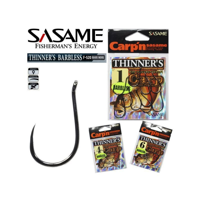 Anzol Sasame Thinner´S Barbless F-520