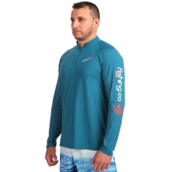 Camiseta Fishing Co. Ziper Petróleo